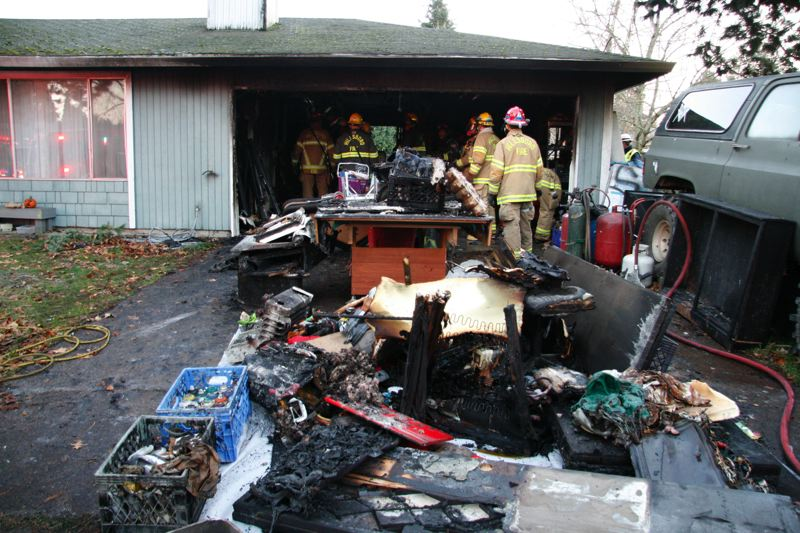 Photo Credit: HILLSBORO FIRE & RESCUE - The contents of this Hillsboro garage were heavily damaged by a fire on Nov. 30.