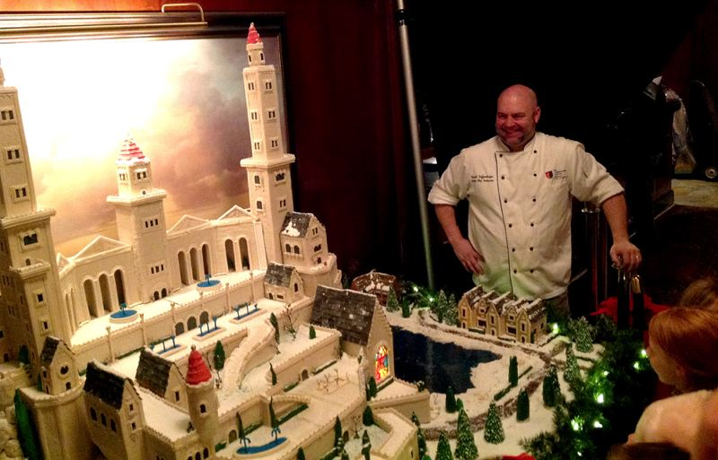Photo Credit: COURTESY OF THE BENSON HOTEL - Chef David Diffendorfer, right, created his holiday gingerbread castle with more than 150 pounds of gingerbread, 15 pounds of white and dark chocolate, 35 pounds of marzipan, buckets of royal icing and mounds of melted Jolly Ranchers.