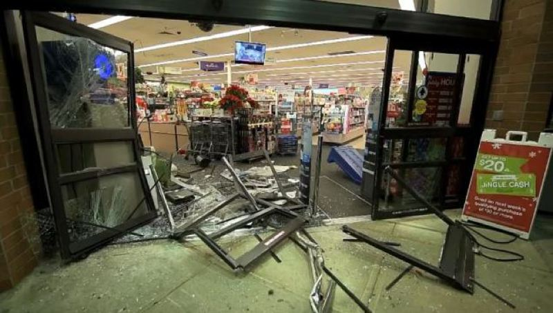 Photo Credit: KOIN 6 NEWS - An SUV smashed into the front of a Gresham Walgreens in an attempt to steal an ATM early Sunday.