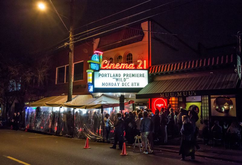 Photo Credit: TRIBUNE PHOTO: JONATHAN HOUSE - Crowds of fans braved the winter weather to get a glimpse of the stars of 'Wild' during the Portland premiere of the movie at Cinema 21.