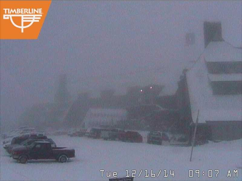 Photo Credit: CONTRIBUTED PHOTO: TIMBERLINE LODGE - The web cam showed a more positive weather outlook on Dec. 16, but foggy conditions kept upper mountain skiing closed at Timberline.