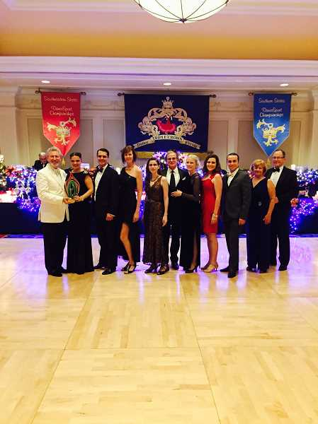 Photo Credit: SUBMITTED PHOTO - Step It Up Studio dancers Steve Dishman (from left), Fran Dishman, Stas Trilisky, Kirsten King, Sherry Klein, Bruce Klein, Nicola Klein, Roxanne Thomas, Drew Dyson, Kristy Higgins and Larry Dean pose after being named the Overall Top Studio at the Northeastern Triple Crown Dancesport Championship in Orland, Fla.