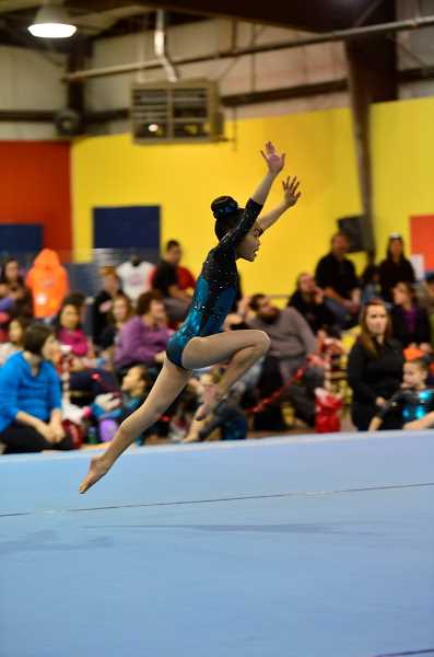 Photo Credit: SUBMITTED PHOTOS - Good things come in small packages, as Raynah Cheng proved with her dynamic performances in the final gymnastic meets of the season.