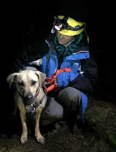 Photo Credit: SUBMITTED PHOTO - Sandy with rescuer John Thoeni a volunteer with the Oregon Humane Society.