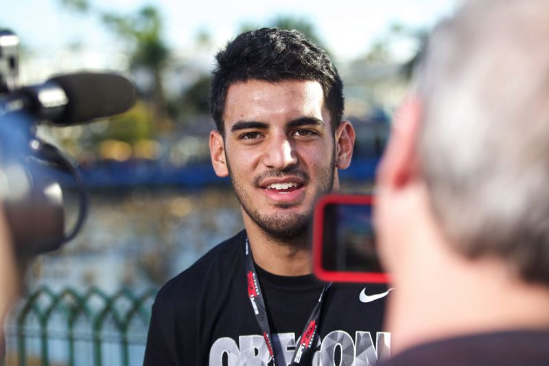 U of O quarterback Marcus Mariota, fresh off his run of national awards and player of the year honors and Heisman Trophy selection, commands major attention at Disneyland.