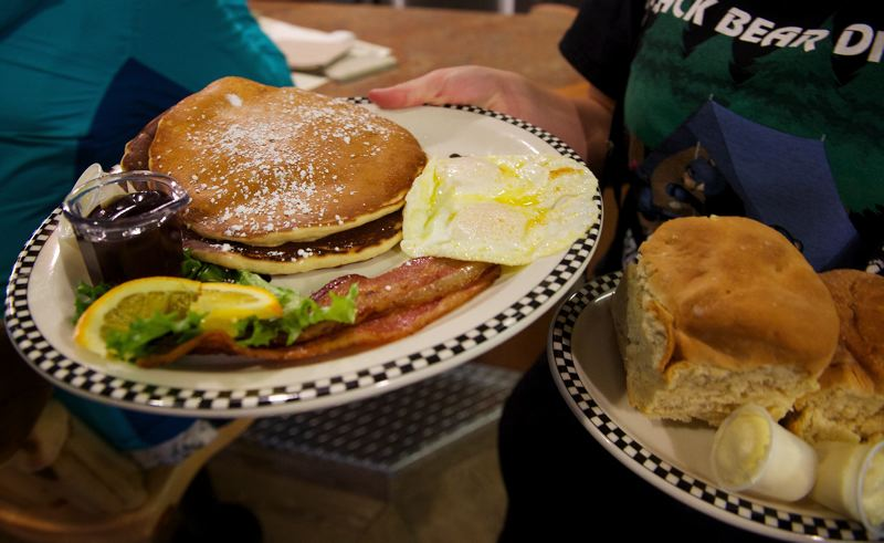 Photo Credit: OUTLOOK PHOTO: TROY WAYRYNEN - Big food portions are no stranger to customers at Black Bear Diner.
