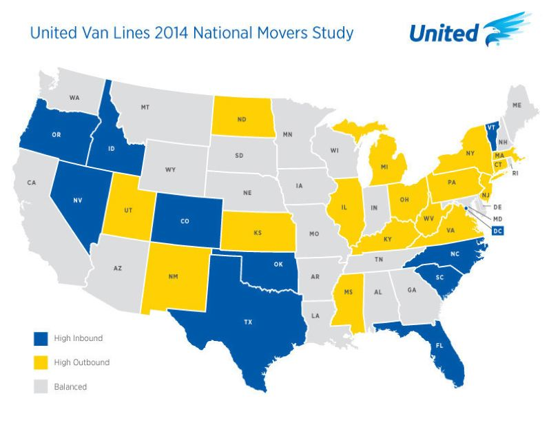 Photo Credit: COURTESY OF UNITED VAN LINES - A United Van Lines map shows the top states where people were moving, and leaving, in 2014.