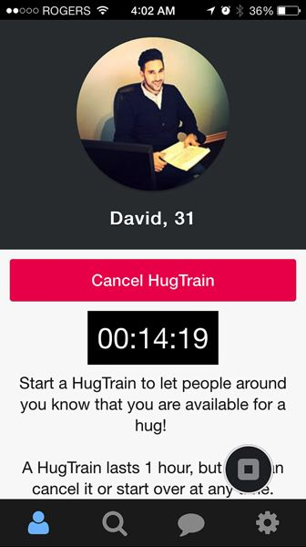 Photo Credit: COURTESY OF HUGTRAIN - The new HugTrain smartphone app is sort of like Uber for hugs. It lets a person announce that he or she is available for hugs in a specific area.