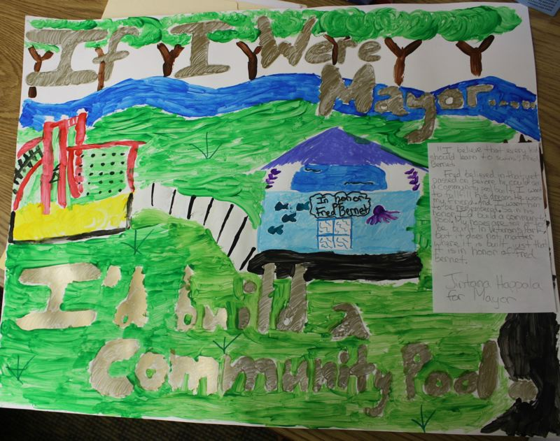 Photo Credit: FILE - Jintana Happala's poster about building a swimming pool in honor of late Scappoose resident Fred Bernet won last year's 'If I Were Mayor, I Would...' contest at the grade-school level in Scappoose.