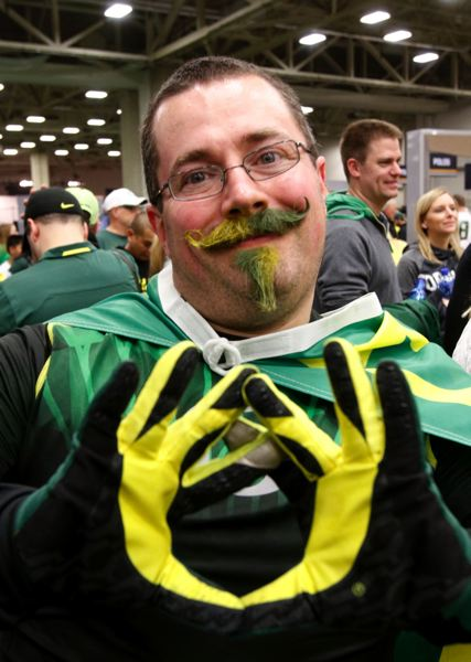 Duck fan Bryan Morrison came from West Virginia to cheer on the University of Oregon.