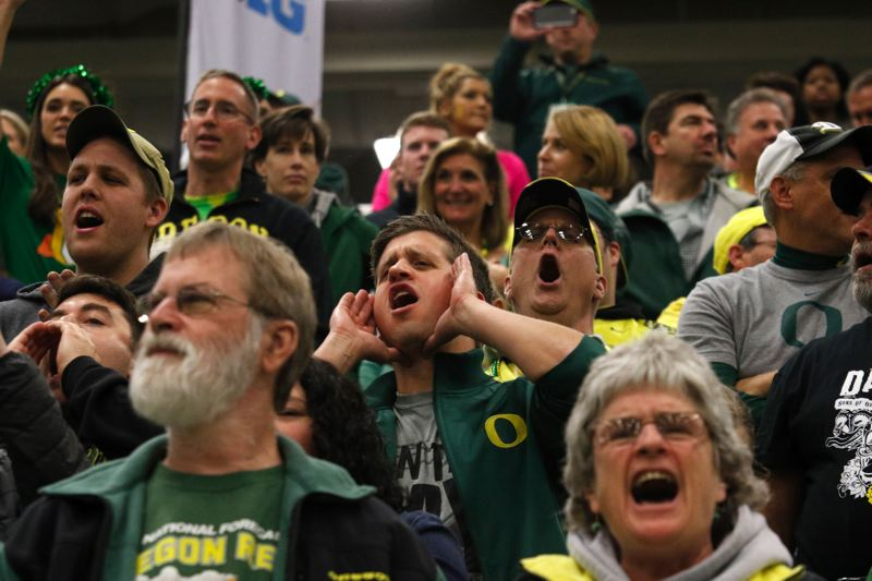 Cheers erupt from the Oregon throng.