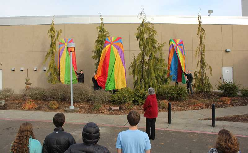 Photo Credit: SUBMITTED PHOTO: MIKE HELLE - A crowd gathered last Friday, awaiting the unveiling of the new 'Elements' art installation.