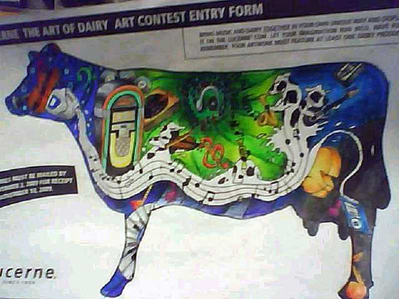 Photo Credit: SUBMITTED PHOTO - Thousands of students across the country used to enter Lucerne's The Art of Dairy contest, which is now discontinued. In 2010, Lakeridge was a finalist, earning the honor to paint the cow they'd designed.