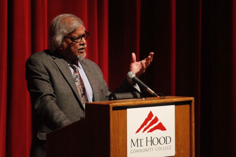 Photo Credit: CONTRIBUTED PHOTO: BRUCE BATTLE - Arun Gandhi speaks Thursday, Jan. 22, at Mt. Hood Community College.