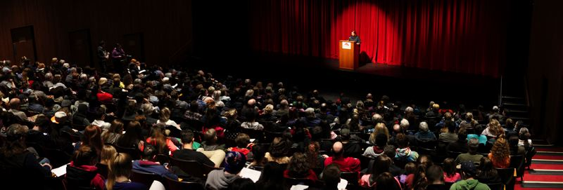 Photo Credit: CONTRIBUTED PHOTO: BRUCE BATTLE - Hundreds of people gather to hear Arun Gandhi, grandson of Mahatma Gandhi, speak at Mt. Hood Community College.