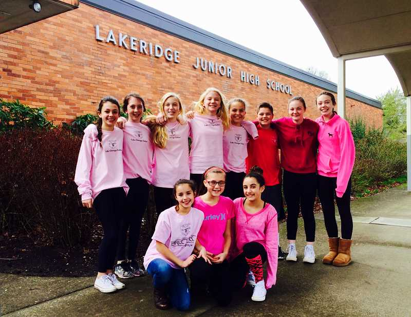 Photo Credit: SUBMITTED PHOTO - Lakeridge Junior High students weigh in on fight against cancer (from left): front row, Aiden McCulloch, Hailey Welch and Alyssa Tiemann; back row, Emily Bachman, Payton Moffenbeier,  Emma Krauss, Macy Barhyte, Keely Lipp, Luke Basso, Jenna Barouh and Macy Crawford.