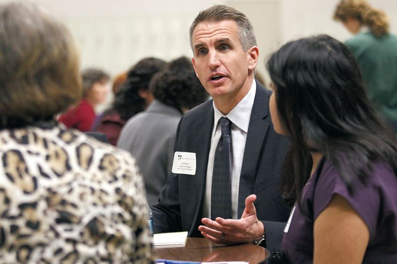 Photo Credit: TIMES PHOTO: JONATHAN HOUSE - Beaverton School District Jeff Rose talks during a roundtable discussion at the Washington County Schools Legislative Forum.