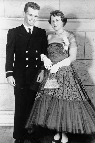 Photo Credit: SUBMITTED PHOTO - Richard Halliday is shown as a young U.S. Navy officer with his first wife Catherine back in the 1950s.