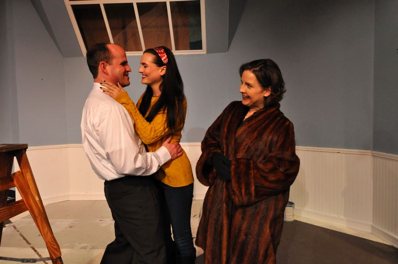 Photo Credit: CONTRIBUTED PHOTO BY MICHAEL HENLEY - From left, Paul, played by Brick Andrews, and Corie, Lisa Sorenson, celebrate moving into their new apartment while Cories mother, Cheryl Nelson, looks on, in the Sandy Actors Theatre production of Barefoot in the Park, which runs through March 6.