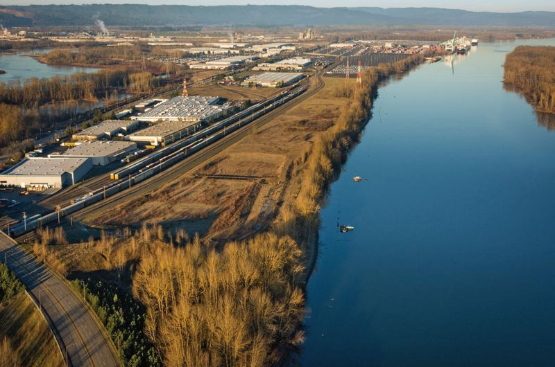 Photo Credit: COURTESY PORT OF PORTLAND - Pembina Pipeline Corp. hopes to transfer propane by rail from Alberta to this narrow parcel at the Port of Portlands Terminal 6. The export terminal would be between the rail line and the Columbia River slough. On the upper right is West Hayden Island.