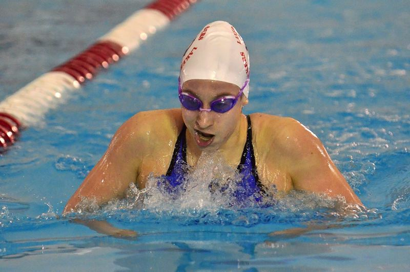 Photo Credit: VERN UYETAKE - Lisa Kaunitz won both the IM and the 500 freestyle, breaking records in the process for Lake Oswego.