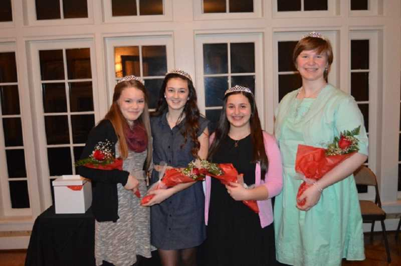 Photo Credit: SUBMITTED PHOTO - Four West Linn eighth graders beam under their new tiaras. From left, Avery Sullivan, Olivia Rees, Bella Deeb and Caitlin McCabe pose in the McLean House parlor after being named West Linn's 2015 Old Time Fair Court princesses.