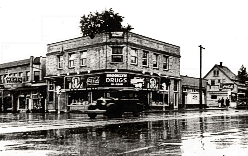 Photo Credit: COURTESY OF CITY OF PORTLAND ARCHIVES - The Brooklyn Pharmacy is shown here on the southeast corner of Milwaukie Avenue and Powell Boulevard, in a photo taken in 1936. The Atlantic Richfield Company bought the property in 1967, demolishing the building and replacing it with an Arco Service Station. In its 118 year history, the Brooklyn Pharmacy has had to survive several moves before reaching its current location on the west side of Milwaukie, a block south of Powell.