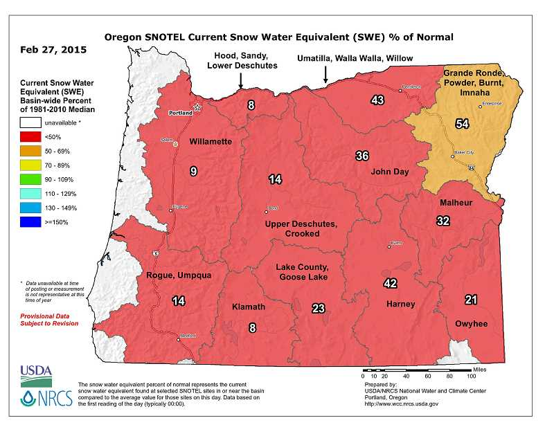 CONTRIBUTED GRAPHIC: NATURAL RESOURCES CONSERVATION SERVICE - This map shows that the snow pack in the Hood, Sandy and Lower Deschutes area is 8 percent of the median amount recorded between 1981 and 2010.