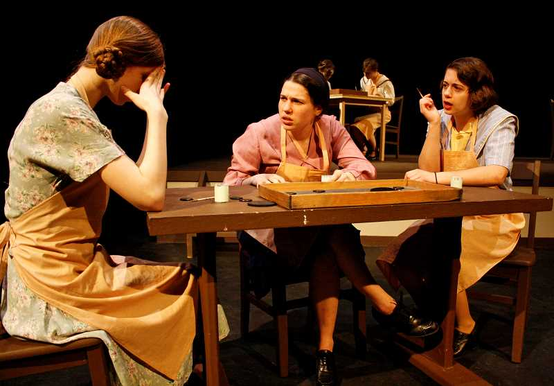 POST PHOTO: KYLIE WRAY - Junior Dana Logan, senior Hailey Luebbert, and senior Theresa Lehr, who plays leading lady Grace Fryer, portray dial painters in Radium Girls.