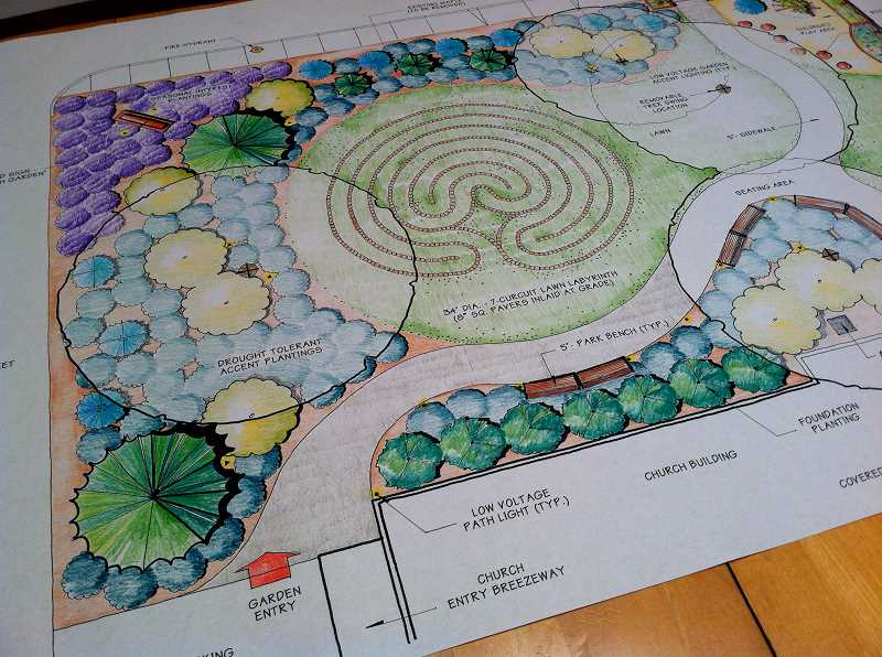 CONTRIBUTED PHOTO - Shibley shared this plan for a labyrinth and landscaping for a church in Riddle, a town in Southern Oregon. Shibley said labyrinths are excellent tools for clearing the mind and moving through difficult times.