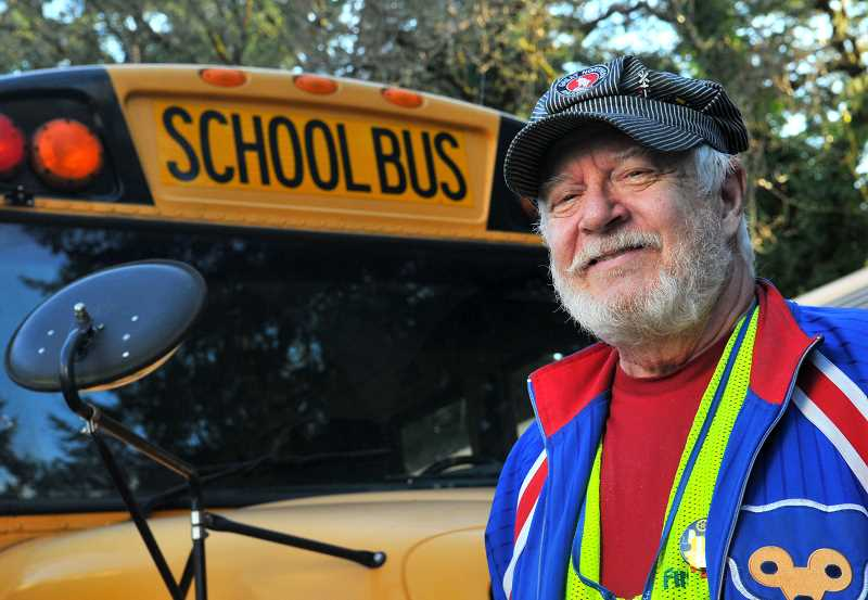 REVIEW PHOTO: VERN UYETAKE - School bus driver Bernie Cohen has been a Lake Oswego resident for 28 years. He loves working with children, he says, because hes still young at heart.
