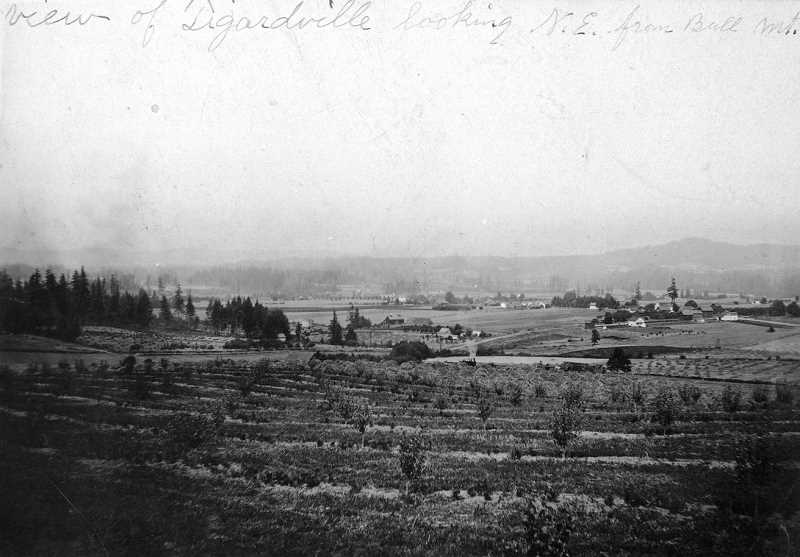 PHOTO FROM TIGARD PUBLIC LIBRARY'S LOCAL HISTORY COLLECTION - This photograph from the late 1880s shows the community of Tigardville, looking Northeast from Bull Mountain.