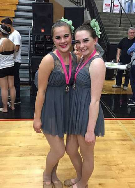 SUBMITTED PHOTO - Dancers honored as standouts include Junior Pacer eighth-graders Sydney Utech (left) and Lauren Richards.