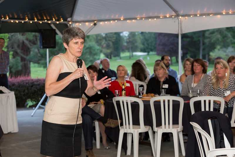 PHOTO COURTESY OF DAVE BOZEK - Beaverton High School Principal Anne Erwin speaks to attendees at an April 30 fundraising event where it was announced that an alumnus had anonymously pledged $3 million to the school's BHS Success Fund.
