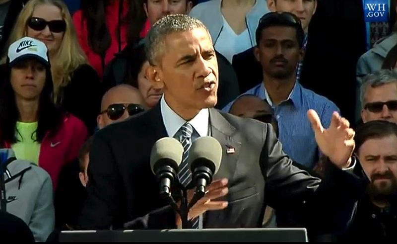 COURTESY OF WHITEHOUSE.GOV - President Obama talked about the impact of a proposed trade promotion authority agreement making its way through Congress during his speech Friday morning at the Nike campus in Washington County. Nike says it could add 10,000 new jobs in a decade if the trade pact is adopted.