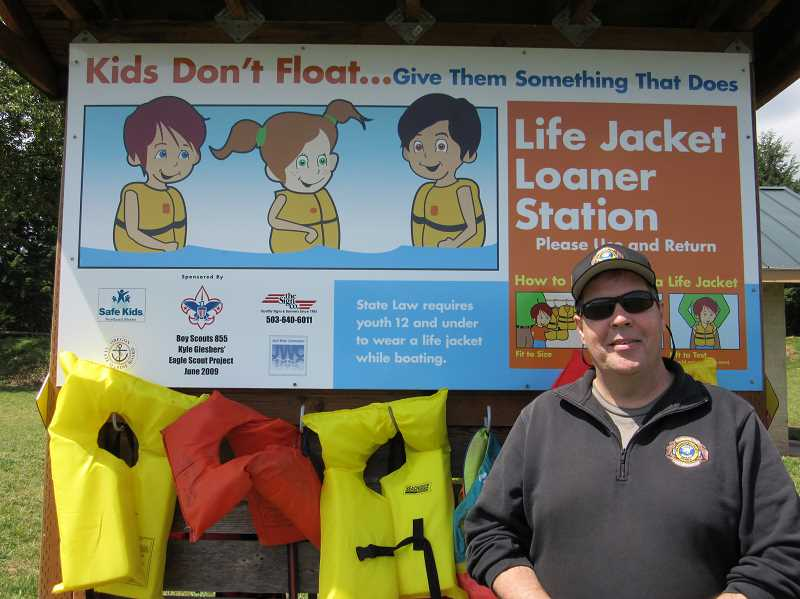 NEWS-TIMES PHOTO: DANIEL FORBES - Washington County Parks Superintendent Todd Winter has added seven new loaner life-jacket kiosks around Hagg Lake in an effort to improve safety, although ultimately, he says, we do rely on the public to take responsibility for their own safety.