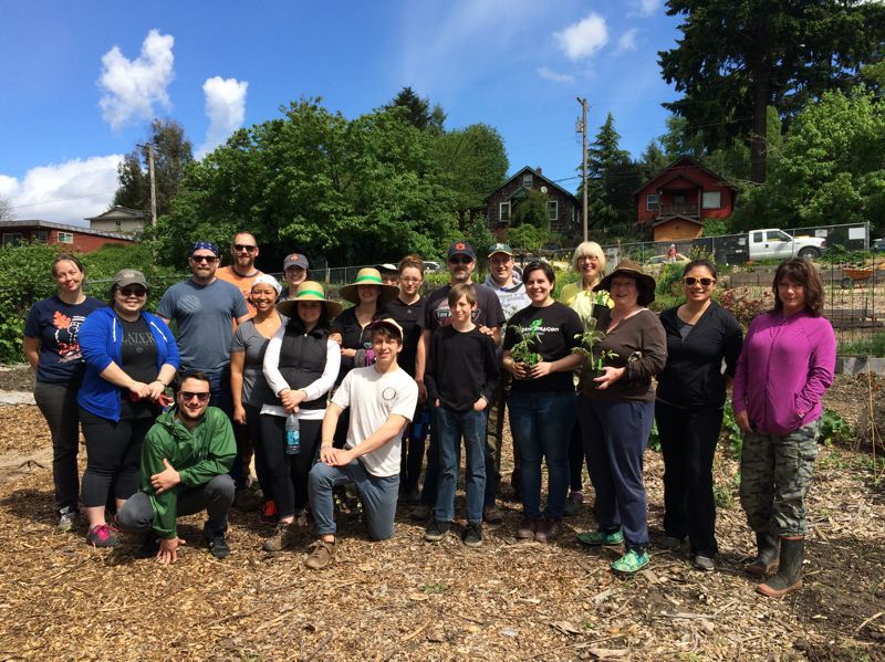 CONTRIBUTED PHOTO/RODNEY BENDER - Plot holders and volunteers from Hands on Portland recently spent a day getting the Johns Community Garden ready for planting season.