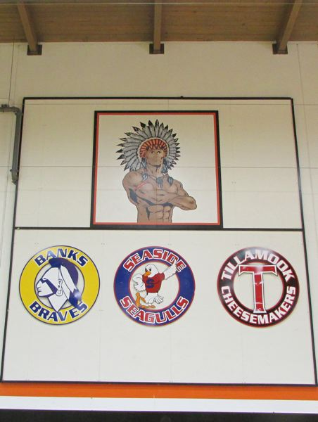 FILE PHOTO - An image of the Scappoose High School 'Indian' adorns the wall of the school's gymnasium.