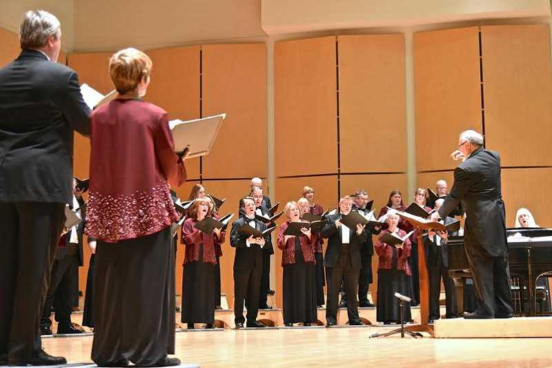 COURTESY PHOTO: DON WHITE - A concert Sunday afternoon, June 7, at Pacific University in Forest Grove showcased the talents of longtime Oregon Chorale director Bernie Kuehn (right).