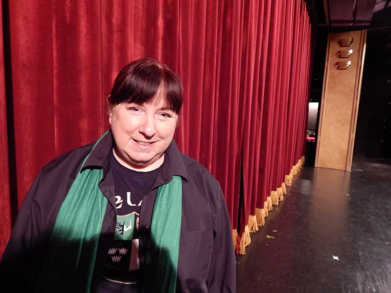 REVIEW PHOTO: CLIFF NEWELL - Cynthia Whitcomb stands on the stage of the theater at the Lakewood Center. Her new screenwriter class is sure to attract lovers of stage and screen.
