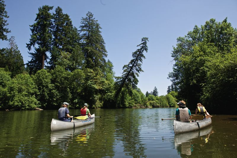 TIMES PHOTO: JAIME VALDEZ - Volunteers travel downstream on the Tualatin River to take part in a turtle survey.