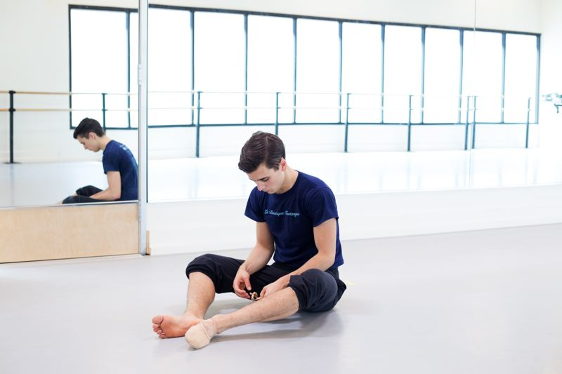 TIMES PHOTO: JONATHAN HOUSE - Nick Jurica, who recently won admission to the Juilliard School in New York, prepares for a quick run-through at The Portland Ballet.