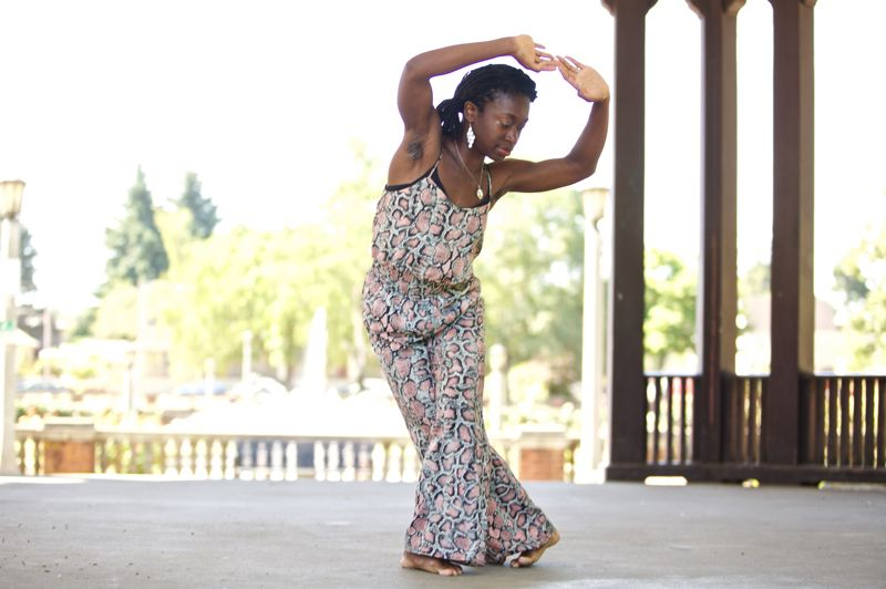 TIMES PHOTO: JAIME VALDEZ - Oluyinka Akinjiola of Portland performs some dance moves that might be featured at the upcoming Ten Tiny Dances in Beaverton.