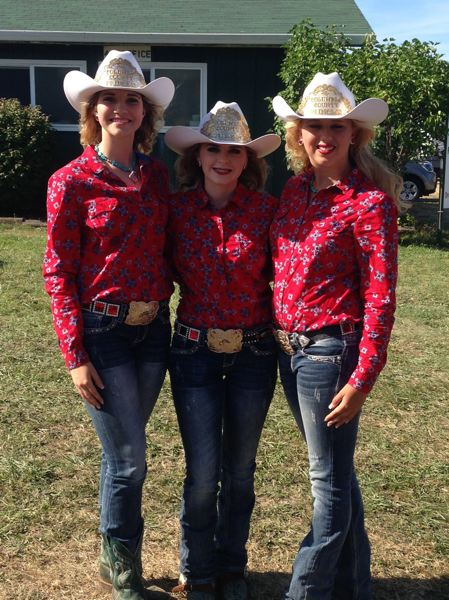 COURTESY OF JEANNE CRAWFORD - To the right: Crawford is joined by Columbia County Rodeo Queen Ashley Lanphear and Princess Nicole Rice at the 2015 Columbia County Fair.