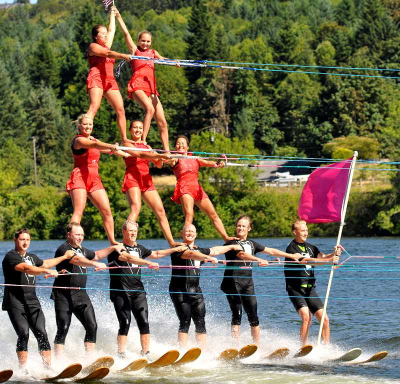 TIDINGS PHOTO: LESLIE PUGMIRE HOLE - Portland Water Spectacular's pyramid team shows off its ski show roots Saturday, July 18, at the West Linn Old Time Fair. Ski shows are as old as the fair itself, which began in the late 1950s.