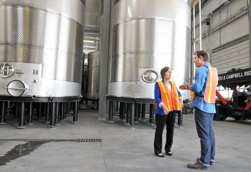 GARY ALLEN - Touring the facility - Rep. Suzanne Bonamici visited Newberg's A to Z Wineworks last week for a tour led by winemaker Sam Tannahill. Discussion topics included some of the challenges facing the industry as well as   climate change and its implications.