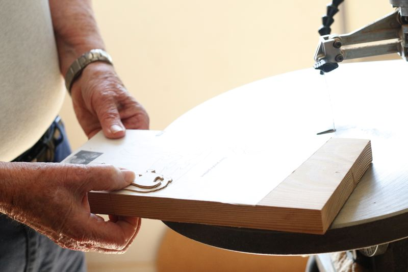 TIMES PHOTO: JONATHAN HOUSE - Using a scroll saw, Art Barry is able to use patterns to make wooden creations.