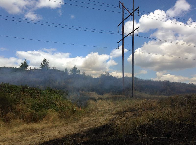 SUBMITTED PHOTO - A Tualatin Valley Fire & Rescue investigator determined that a short in an insulator along a power transmission line was the likely cause of a Monday fire near the Tigard Sand & Gravel Quarry in Tualatin.