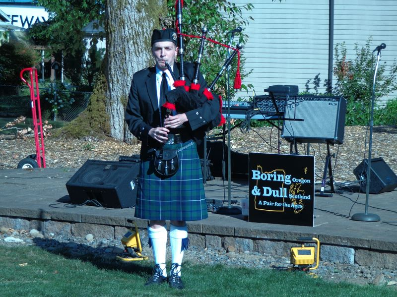 CONTRIBUTED PHOTO - Scottish pipers like Andrew Schleuter will be on hand for Boring & Dull Day, when Boring celebrates its pairing with Dull, Scotland, from 5-9 p.m. Saturday, Aug. 9, in Boring Station Trailhead Park.