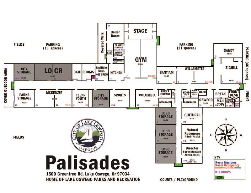 SUBMITTED PHOTO - A floor plan of Palisades Elementary School shows the location of Parks & Recreation Department classes, the McKenzie teen Lounge and other facilities.
